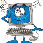 Clip Art Graphic of a Desktop Computer Cartoon Character
